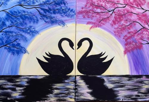 Moonlit Swans - Couple